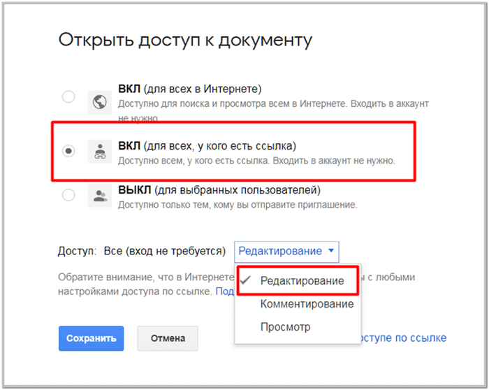 Google Doscda papkaga ruxsat berish